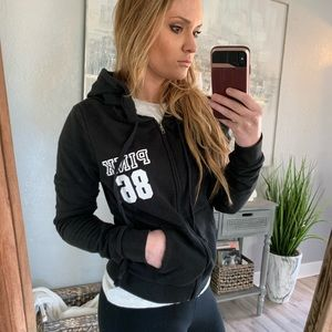 Victoria's Secret pink black zip up hoodie